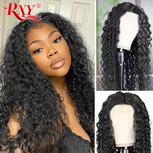 Water Wave Wig RXY Deep T Part Lace Closure Wig Wet And Wavy Lace Front Wig Brazilian Remy Lace Front Human Hair Wigs For Women