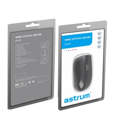 MU200  MOUSE ASTRUM  OPTICAL USB RED