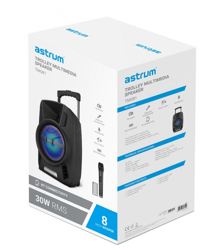 COLUNA ASTRUM BLUETOOTH  TROLLEY (TM081)