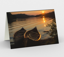Load image into Gallery viewer, Sunset canoes greeting card, set of 3