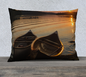 Sunset canoes pillow case