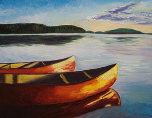 Oil painting of two red canoes