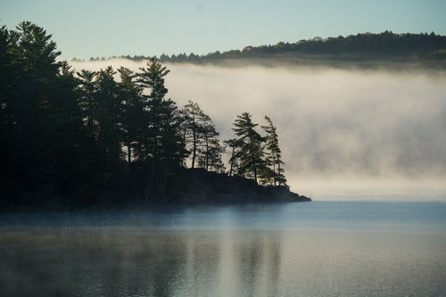 Morning mist on Lake of Two Rivers photo