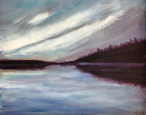 Cache Lake in evening light, Plein air sketch