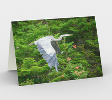 Load image into Gallery viewer, Blue heron stationary card, set of 3