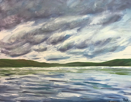 Oil painting of a cloudy sky in Algonquin