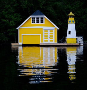 Yellow boathouse canvas print