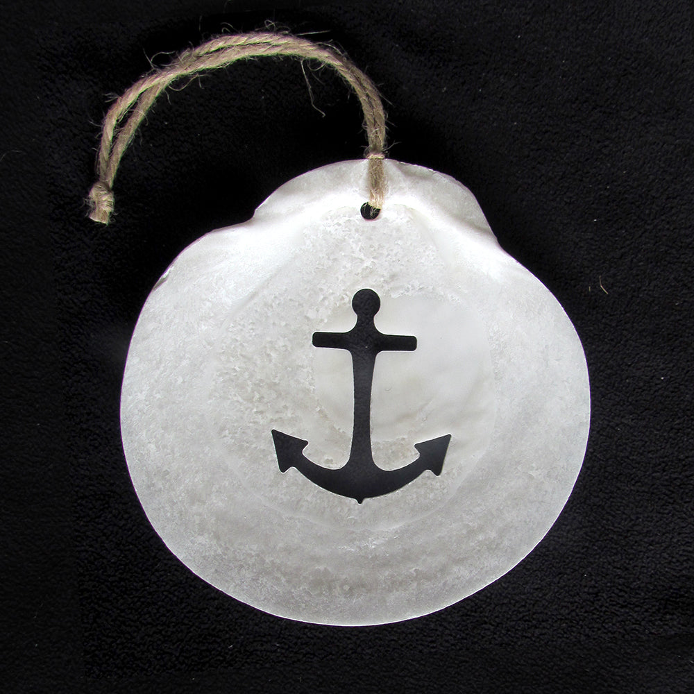 Anchor Scallop Shell Ornament