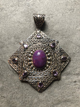 Load image into Gallery viewer, Slide- Sterling silver,  purple turquoise & amethyst #54