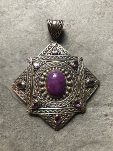 Slide- Sterling silver,  purple turquoise & amethyst #54