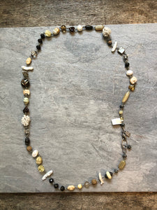 Necklace - Beaded; plated silver beads, crystals & glass #27