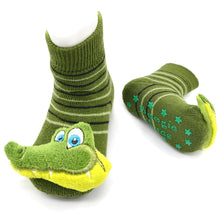 Load image into Gallery viewer, Green Dinosaur Chic Boogie Toes Rattle Socks