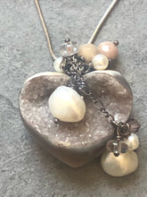 Load image into Gallery viewer, Necklace- Heart shaped crystal geode with pearls. #29