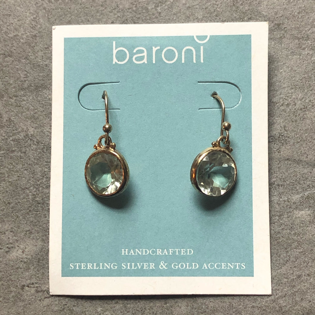 Baroni earrings-Sterling silver drop faceted quartz earrings #45