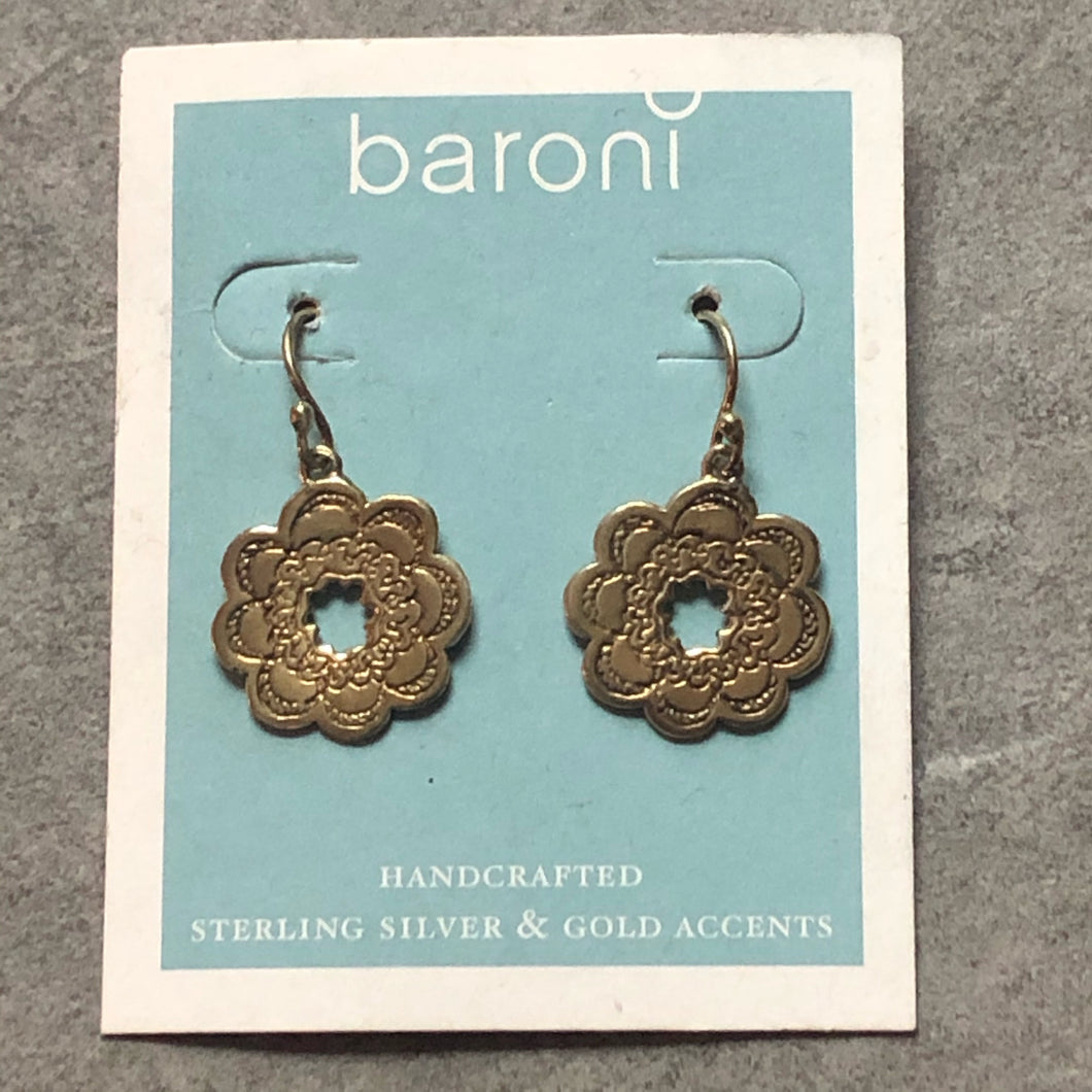 Baroni earrings- Gold plated Sterling silver drop earrings #51