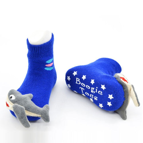 Blue SharkyBoogie Toes Rattle Socks