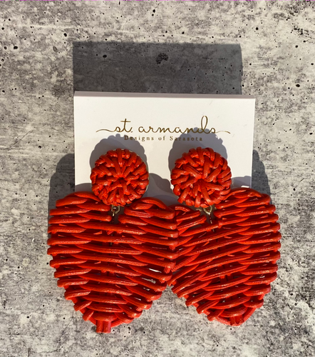 Red Rattan Valentine Heart Earrings