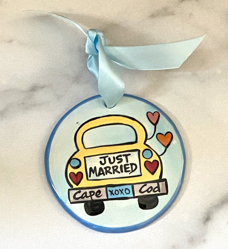 Just Married & Cape Cod Handpainted Ornament
