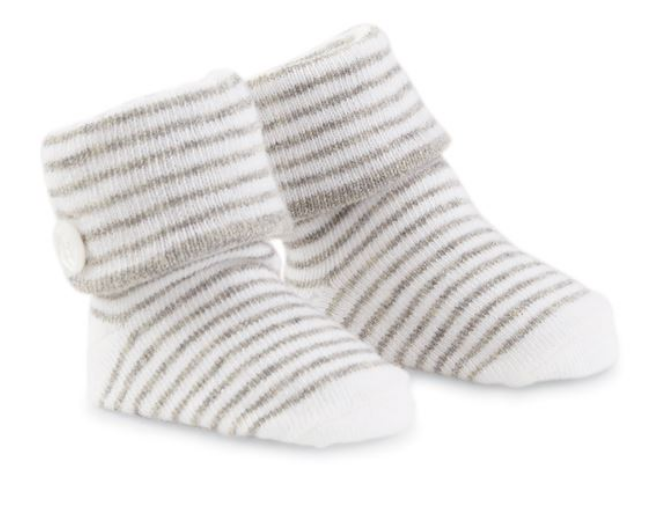 Gray Striped Button Socks