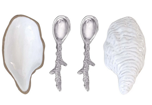 Oyster Ceramic Open Salt Spoon Set