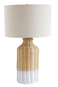 Wicker Table Lamp with Linen Shade