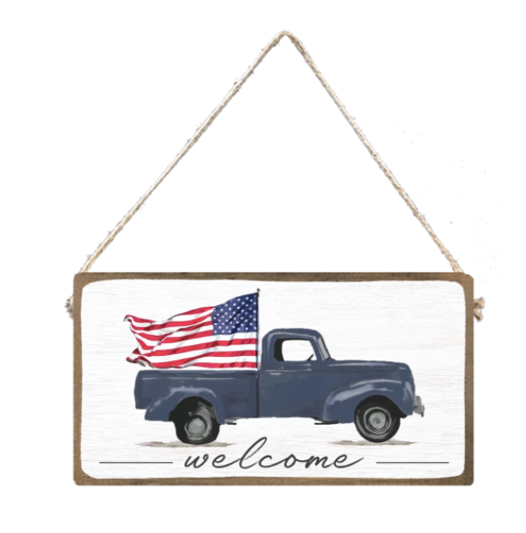 WELCOME FLAG TRUCK SIGN