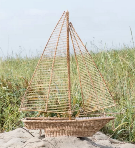 Hand-Woven Water Hyacinth & Rattan Sailboat