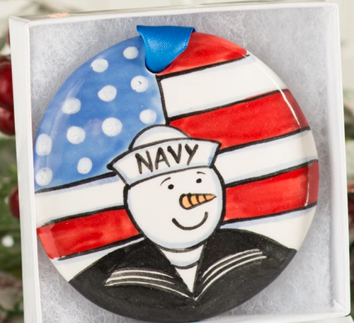 Navy Handpainted Ornament