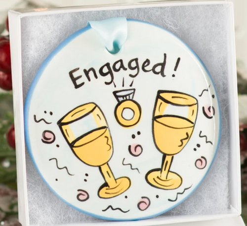 Engaged Handpainted Ornament