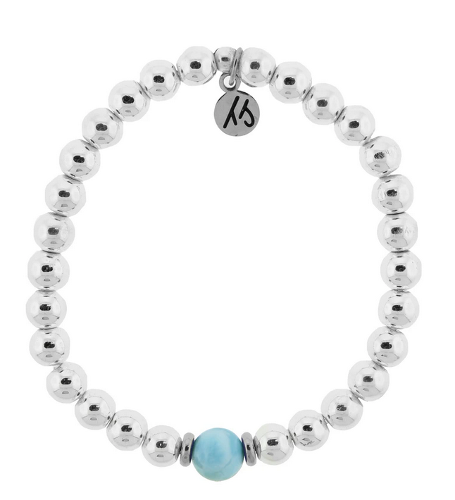 Cape Bracelet with Larimar Ball