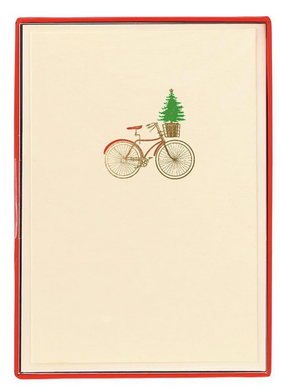 Bike with Basket Petite Boxed Holiday Cards
