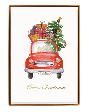 Car With Tree Large Boxed Holiday Cards