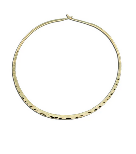 Hammered Round Hoop Earring - 60mm Gold Filled