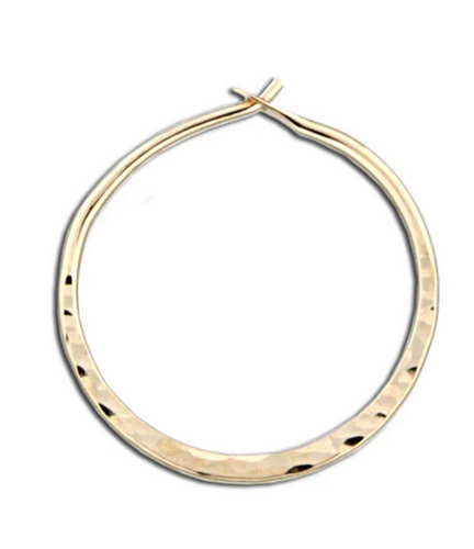 Hammered Round Hoop Earring - 20mm Gold Filled