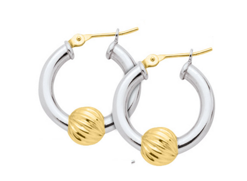 Cape Cod Lestage® Earrings SS With Gold Swirl Bead
