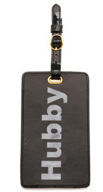 Black Luggage Tag with Shiny Silver Hubby