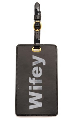 Black Luggage Tag with Shiny Silver Wifey