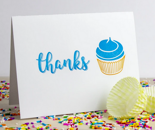 Cupcake Thanks Cards - Set of 5