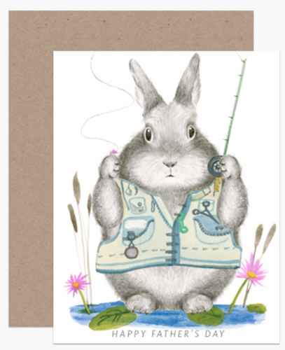 Fishing Dad Bunny Card