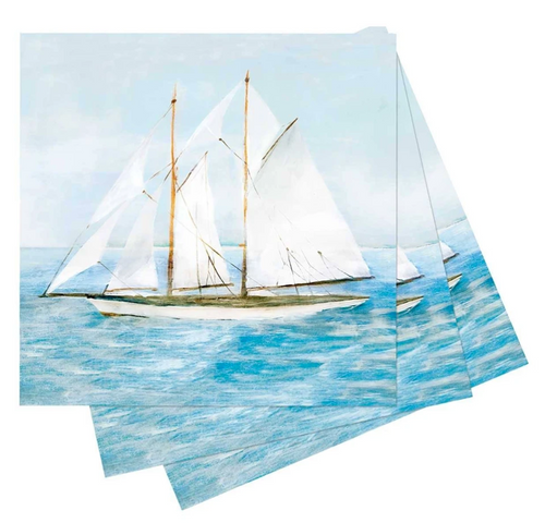 Summer Sail Printed Paper Cocktail Napkins