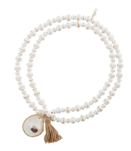 White Beads With Oyster Shell