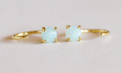 Gold Amazonite Huggie Earrings - Hope