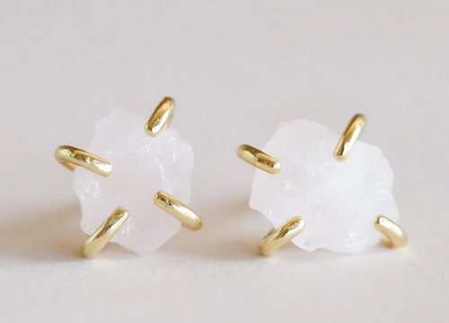 White Howlite Gemstone Prong Earrings - Mindfulness