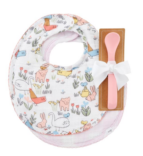 Chicken Floral Bib & Spoon Set