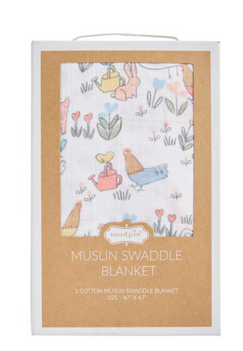 Chicken Floral Muslin Swaddle