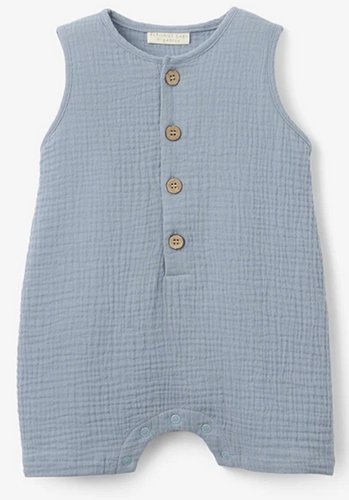Blue Organic Muslin Button Down Shortall