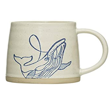 Hand-Painted Stoneware Mug w/ Sea Life