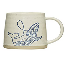 Load image into Gallery viewer, Hand-Painted Stoneware Mug w/ Sea Life