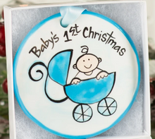 Load image into Gallery viewer, Baby's First Christmas Handpainted Ornament