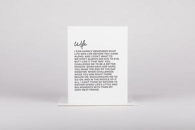 LETTER TO WIFE CARD